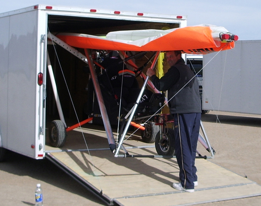 Store the folded trike wing and trike in a trailer
